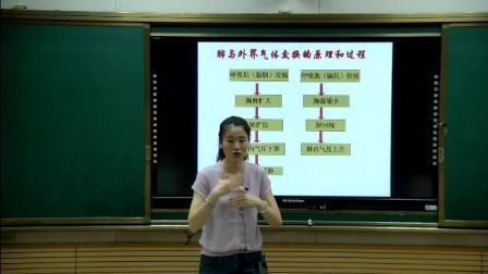 人教2011课标版生物七下-4.3.2《发生在肺内的气体交换》教学视频实录-石利