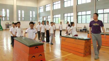 人教版体育五下《双杠组合:跳上前摆成外侧坐-越两杠下》课堂教学视频实录-王世伟