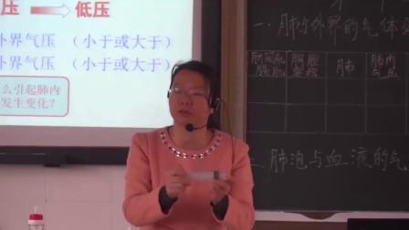 人教2011课标版生物七下-4.3.2《发生在肺内的气体交换》教学视频实录-罗妙珍